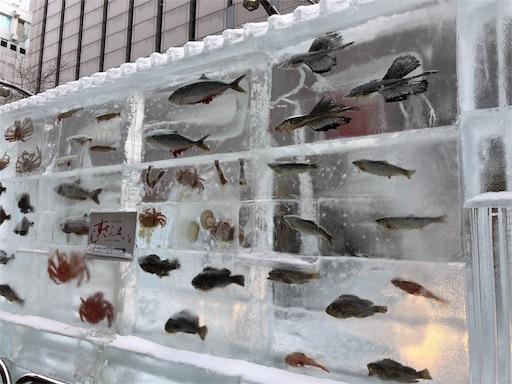さっぽろ雪まつりすすきの会場の魚が閉じ込められた氷像