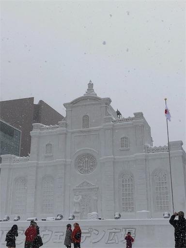 さっぽろ雪まつりの大きな建物の雪像