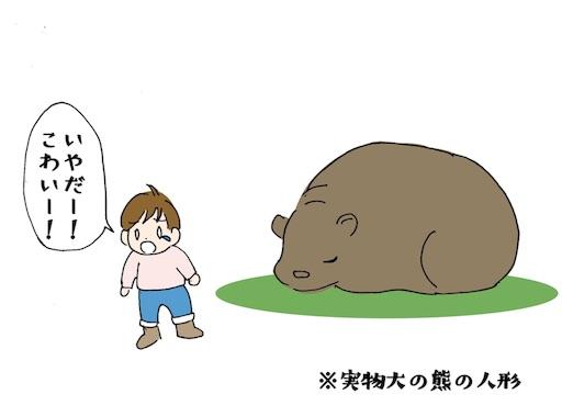 北海道博物館の熊の人形に怯える子ども