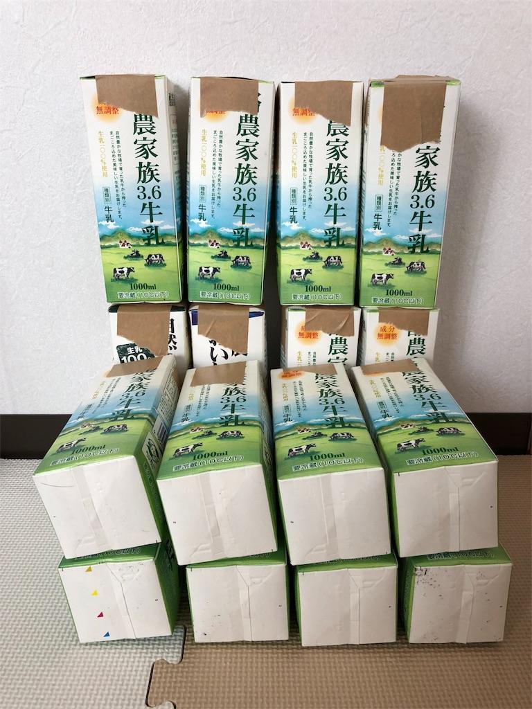 牛乳パック椅子を作るため、新聞紙を詰めた牛乳パックを椅子の形に並べる