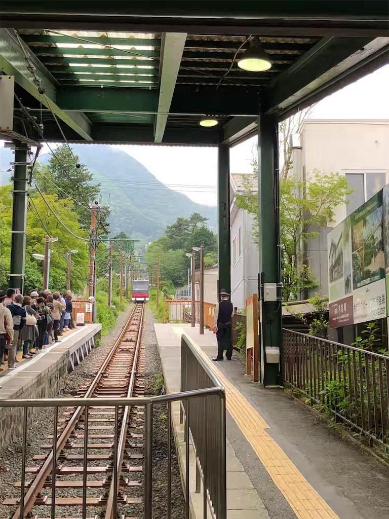 強羅駅でケーブルカーを待つ人々