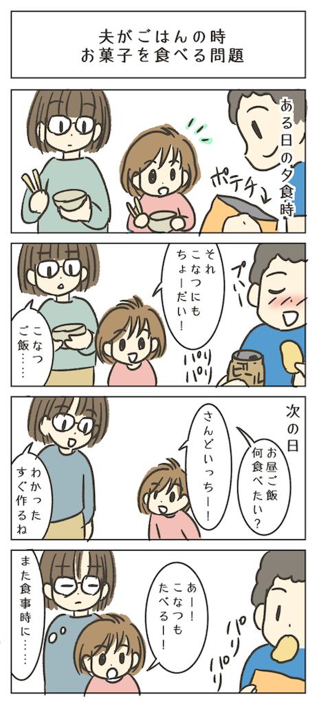 食事の時に子供の前でお菓子を食べるの困った父親