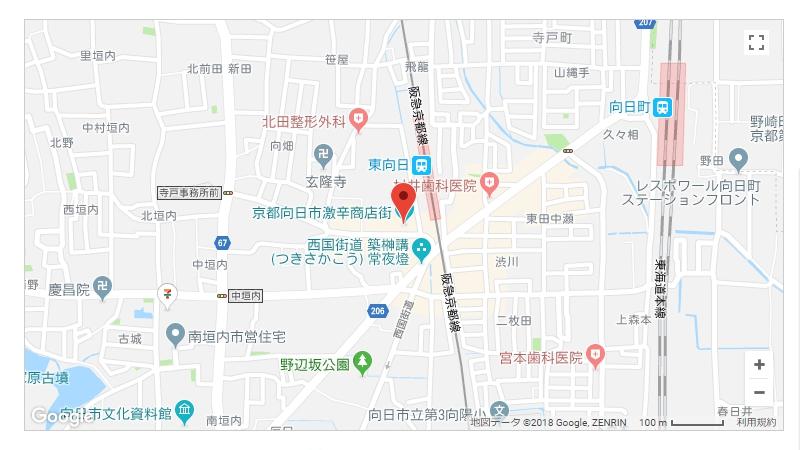 路餐軒の場所を示す地図