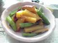 サツマイモとインゲンの味噌炒め
