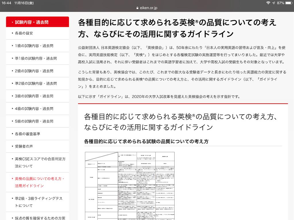 英検ガイドライン