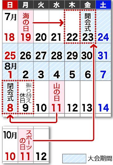2021年祝日【海の日は7/22】【山の日は8/8】【スポーツの日は7/23】