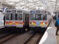 東急8090系列の双子 左の車両には貫通扉がある