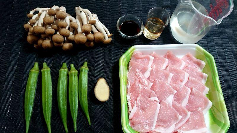 豚肉とオクラのサッと煮_材料