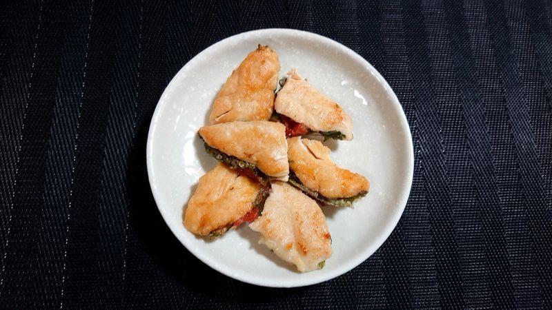鶏ささ身の梅しそはさみ焼き_完成