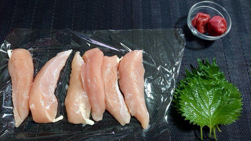 鶏ささ身の梅しそはさみ焼き_材料