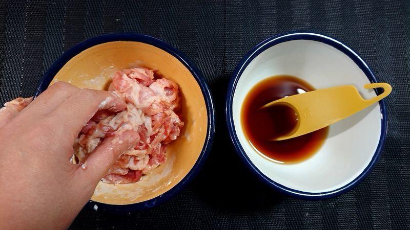 豚肉ときのこの甘酢がらめ_2