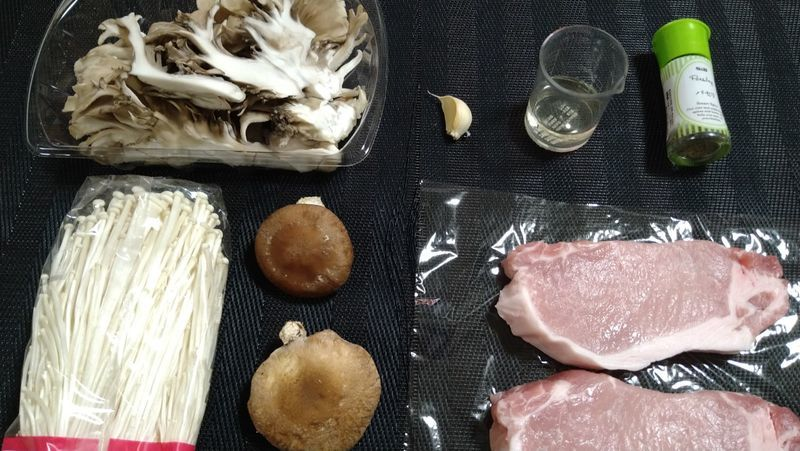 きのこと豚肉のソテー_材料