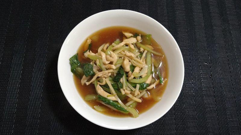 鶏むね肉とチンゲンサイの中華炒め_完成