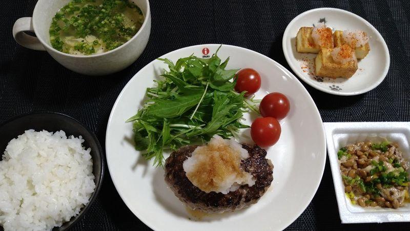 雑穀ハンバーグ_食卓