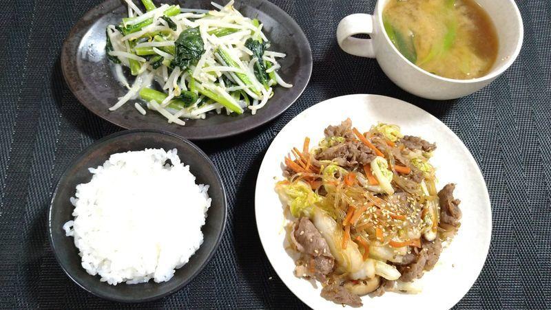 小松菜ともやしのにんにくマヨ炒め_食卓