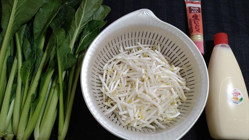 小松菜ともやしのにんにくマヨ炒め_材料