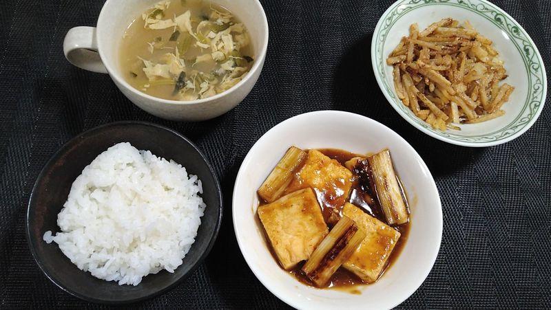 ねぎと豆腐のうま煮_食卓