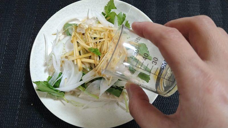 レンジ蒸し鶏と春野菜のサラダ_8
