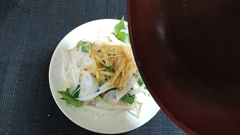 レンジ蒸し鶏と春野菜のサラダ_10