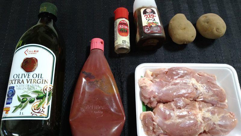 鶏肉のケチャップウスター焼き_材料
