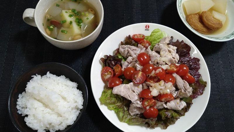 洋風トマト冷しゃぶ&野菜のコンソメスープ_食卓