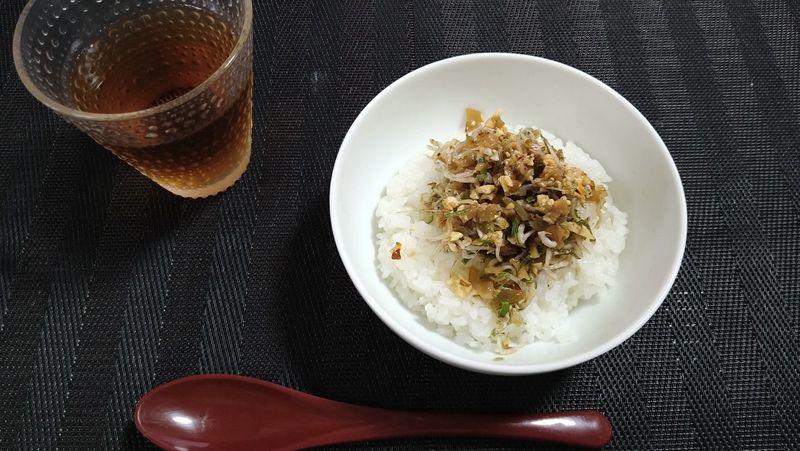 じゃこナッツの漬物丼_食卓1