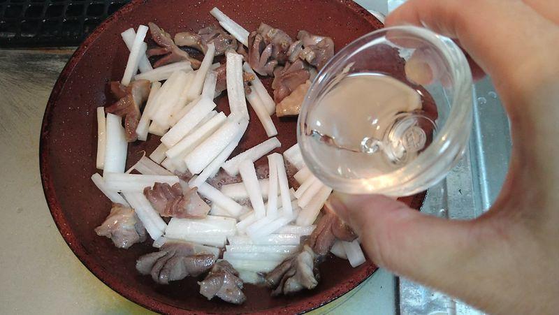 砂肝と夏大根のゆずこしょう炒め_5