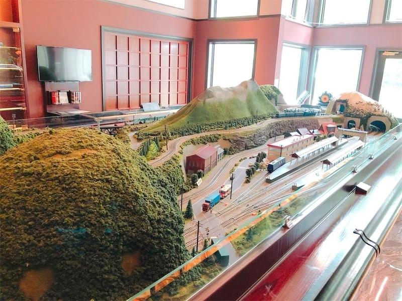 エプイにある、昔の大沼公園駅や倶知安駅を模した立派なジオラマ写真