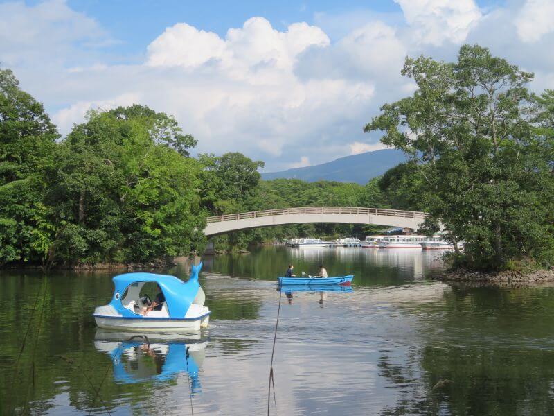 大沼湖畔のボート写真