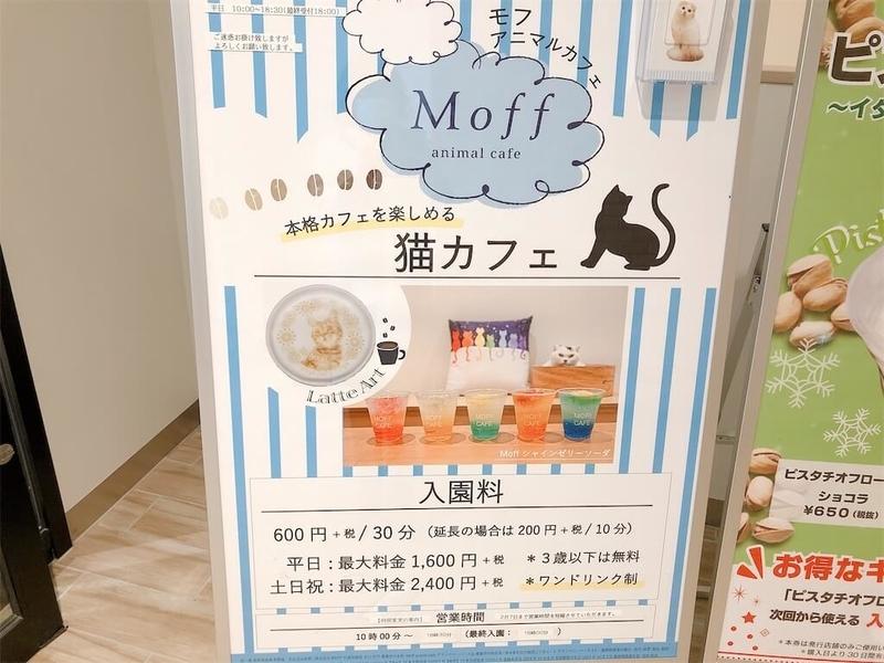 猫カフェ「MOFF」入り口付近の看板の写真