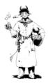 [創作][イラスト][モノクロ]城の調理人