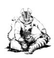 [創作][イラスト][モノクロ]虎鼠の参謀