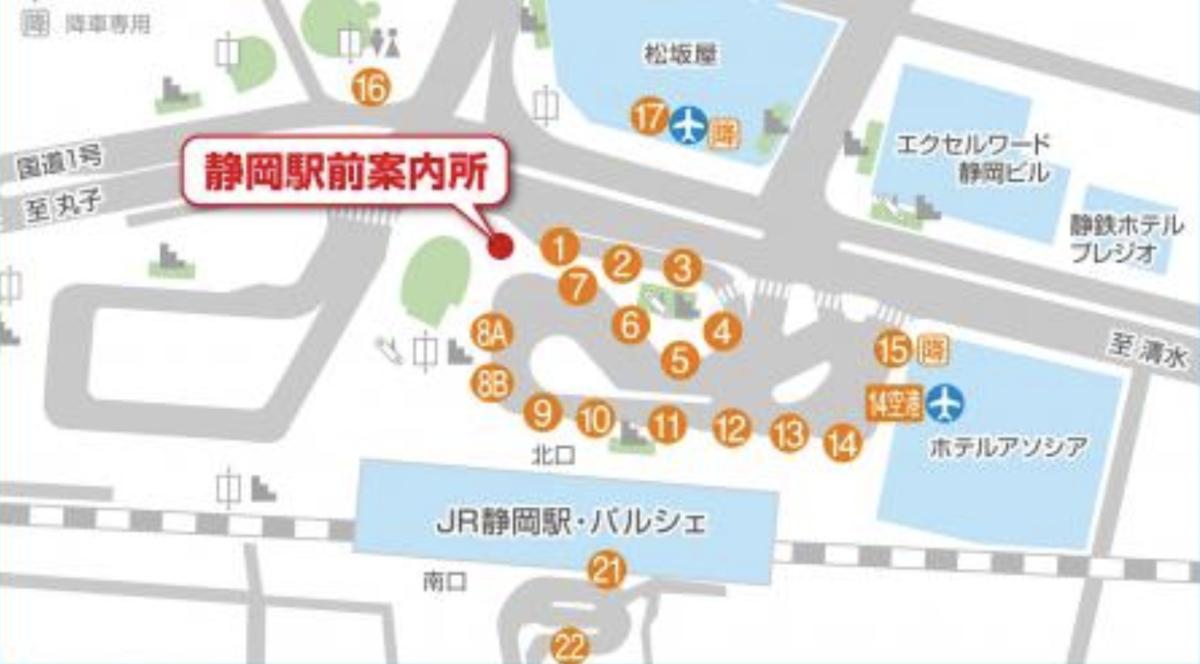 JR静岡駅のバスターミナル地図