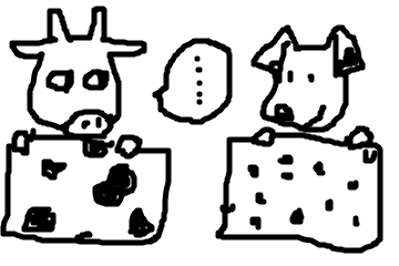 牛柄 VS.  ダルメシアン柄