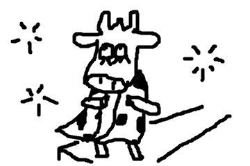 キャットウォークで牛柄ウェアをアピールする牛さんの図