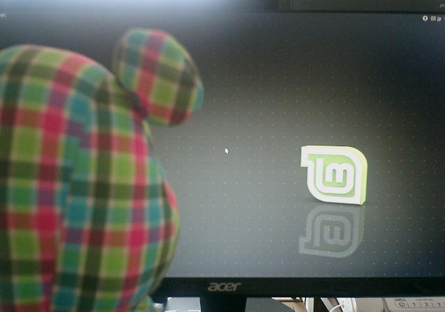 Linux Mintのログイン画面を見つめるうろこちゃん