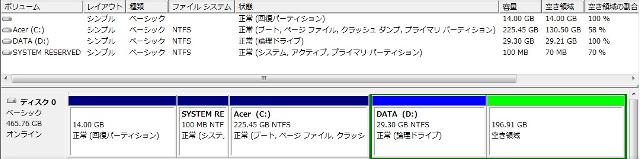 「未割り当て」となった領域の一部を、新たなDドライブとして作成。残りはLinuxのための「空き領域」に。