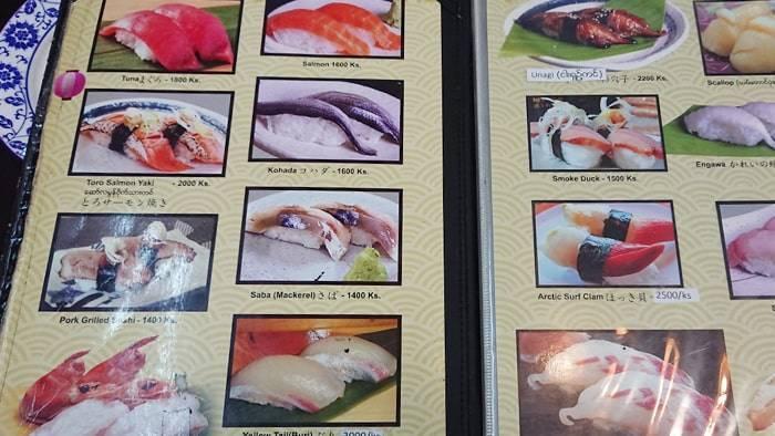 ヤンゴンのおいしい寿司(Oishii Sushi)のメニュー