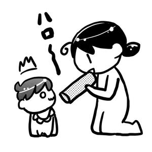 チップスターの筒で赤ちゃんに話しかける