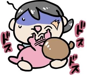 授乳中に顔をつついてくる乳幼児