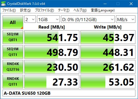 ADATA SU650 120GB Crystal Disk Mark