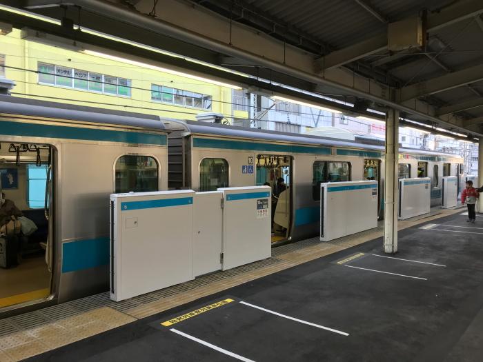 京浜東北線鶴見駅 ホームドアの...
