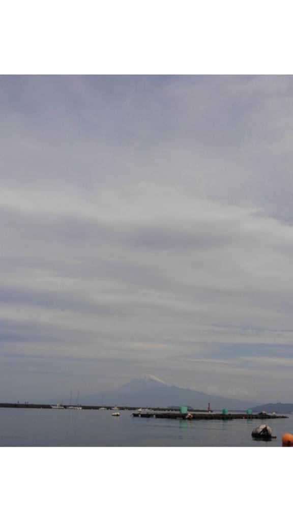 伊豆の海の真鯛釣りボートからの富士