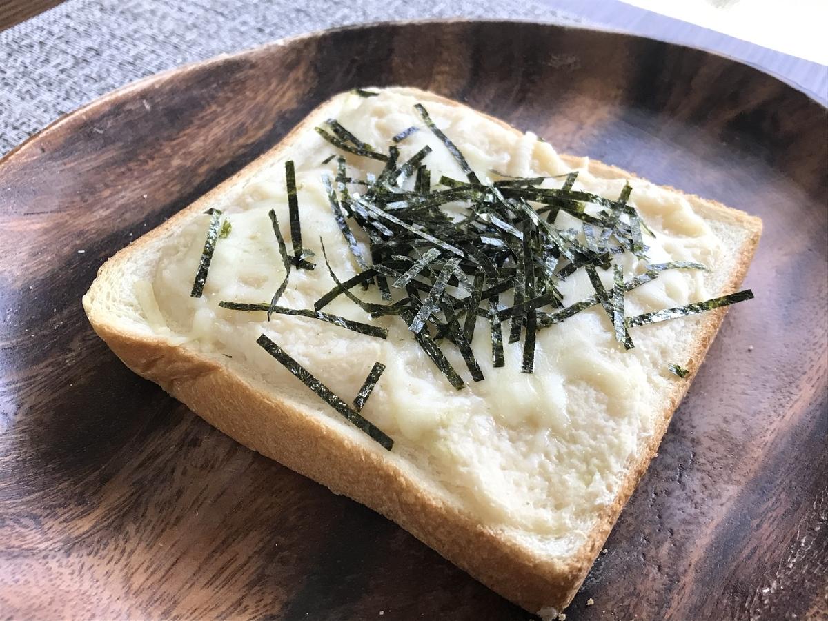 とろろとチーズの和風トースト完成