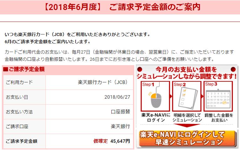楽天カードからの請求額(2018年6月分)