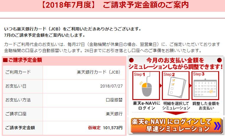 楽天カードからの請求額(2018年7月分)