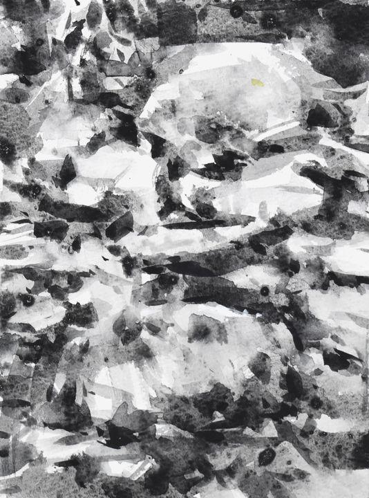 岩の形を抜きで描く
