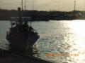 与論漁港の夕日