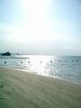 北谷・アラバビーチに落ちる夕日