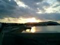 久米島・鳥島地区から夕日のガラサー山を望む
